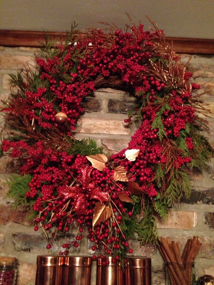 Christmas wreath with real pine and cedar greens