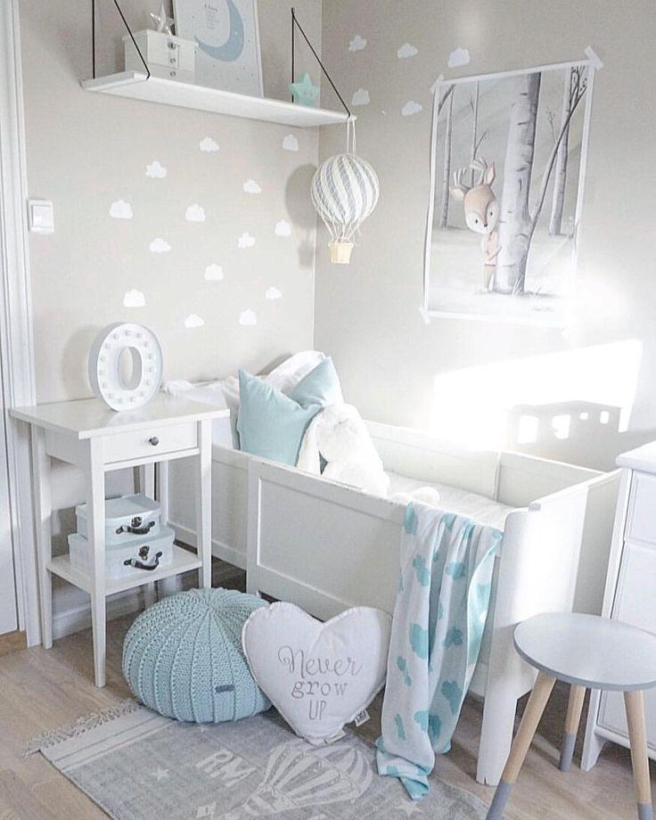 Inspiration d'Instagram – idées de décoration gris clair et bleu pour les chambres d'enfants – intérieur