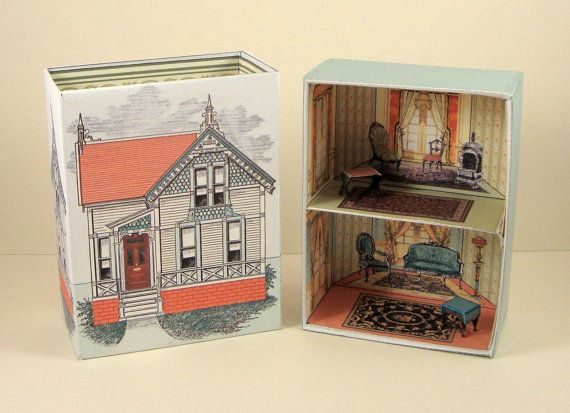Number 27- Victorian House Printable Match Box .pdf file and .svg  cutting files.https://www.etsy.com/shop/PaperCottagePrinties