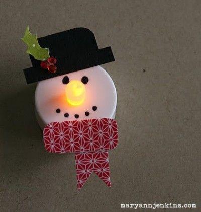 Snowman Tea Lights...I just love these ornaments!