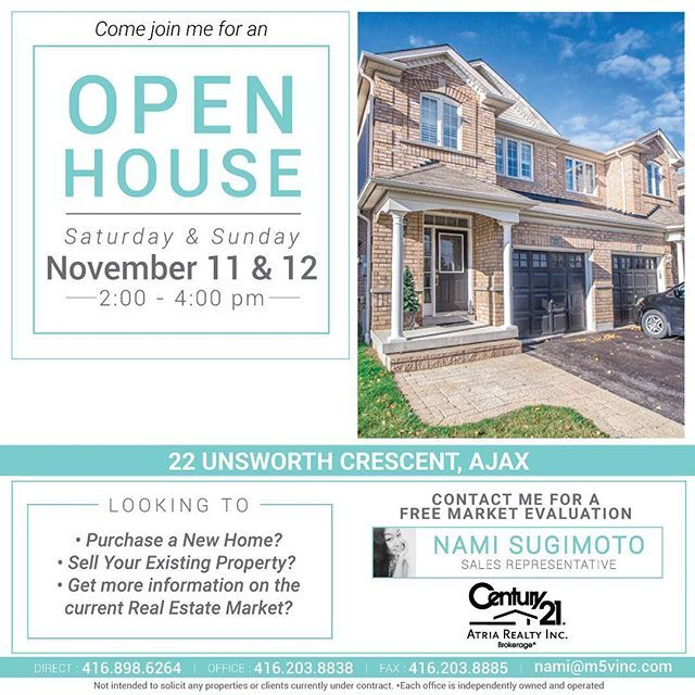 Join me this weekend  at my Open House😊  22 Unsworth Cres, Ajax Sat & Sun 2-4pm  #OpenHouse #RealEstate #realtor #torontorealtor #torontorealestate #toronto #torontolife #durham #durhamrealestate #durhamrealtor #ajax #ajaxrealtor #ajaxrealestate #pickering #pickeringrealestate #pickeringrealtors #whitby #whitbyrealestate #whitbyrealtor #gta #gtarealtor #gtarealestate #buy #sell #invest #lease #residentialrealestate #commercialrealestate #localrealtors - posted by Nami S…