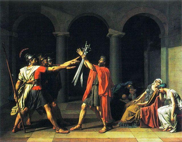 """""""Oath of the Horatii"""" Artista: Jacques Louis David Data: 1785. Tecnica: Olio su tela. Galleria: Louvre, Parigi."""