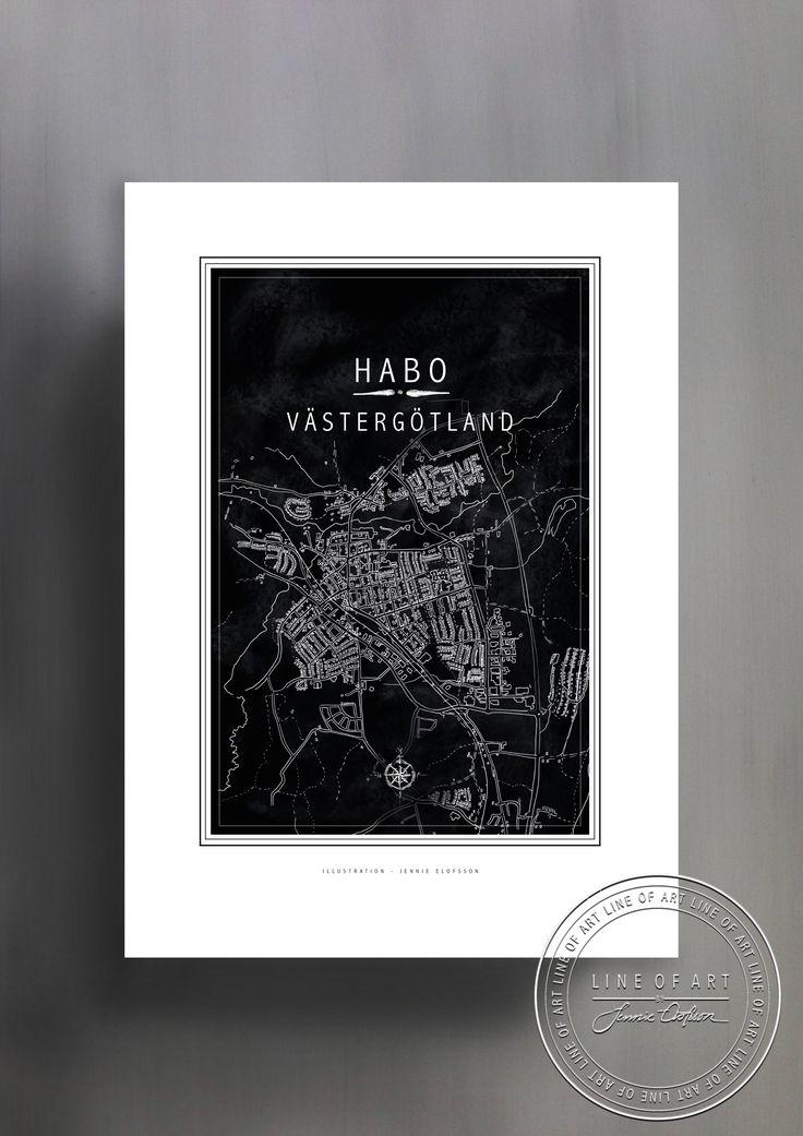 HABO | VÄSTERGÖTLAND | SVART | © Line of Art by Jennie Elofsson Handtecknad karta med svart bakgrund. Finns i åtta färger och tre storlekar. In och hitta din favorit!    Hand-drawn map of Habo with a soft black background. Available in eight colors and three sizes. Find your favorite!    Kartposter, map poster , print , poster , art print, illustration, lineofart, kalkfärg