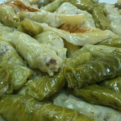 Malfoof-stuffed cabbage, delicious.