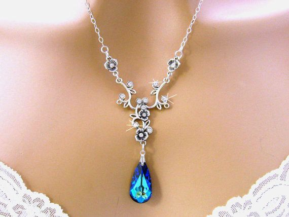 Blue Bridal Necklace Quinceanera Jewelry by martywhitedesigns, $52.00