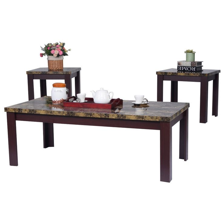 3 piece faux marble coffee table set living room sofa accent end corner furniture