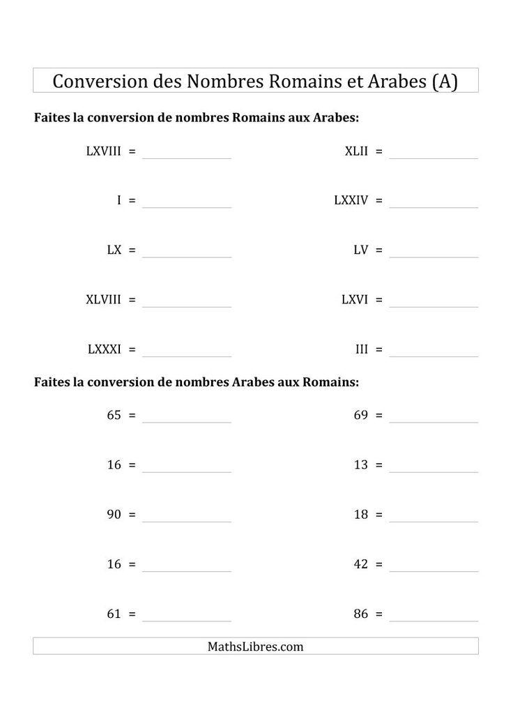 Conversion des Nombres Romains et Arabes Jusqu'à C (Format Standard) (A). Disponible le 9 Juin 2015.