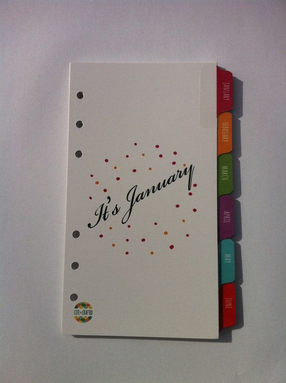 Personal Size January - December Organizer Index Tab Dividers - Colour Printed Both SIdes