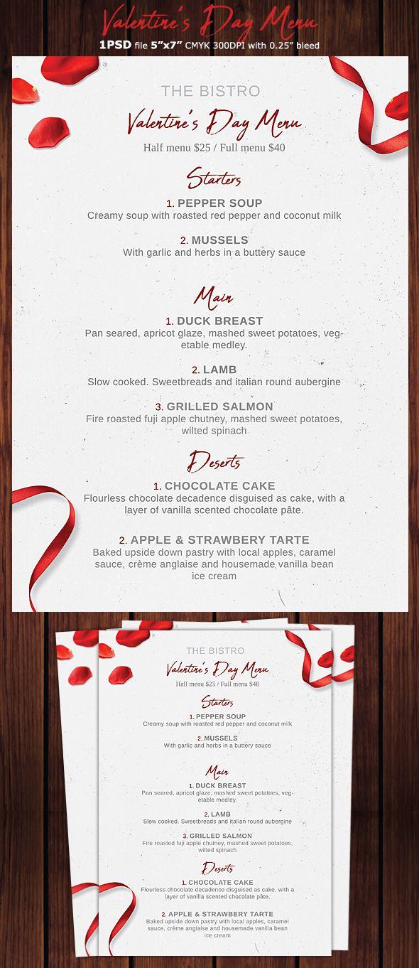 Valentines Day Menu Flyer Menu Flyer Menu Design Template Restaurant Menu Design