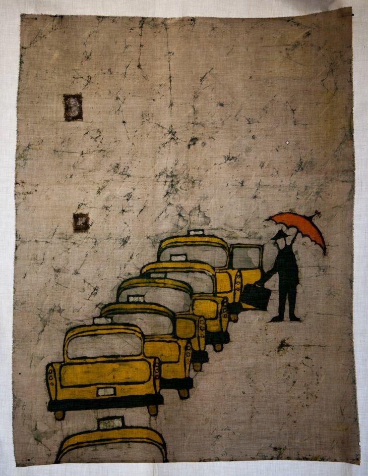 "Batik ""Taxi"" - size A1; Artist: Irena Buchwald ""Manufacture Buchwald"""