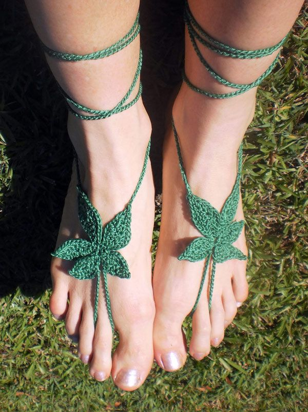 Cooterclark:  Weed crochet sandals for a real blazer
