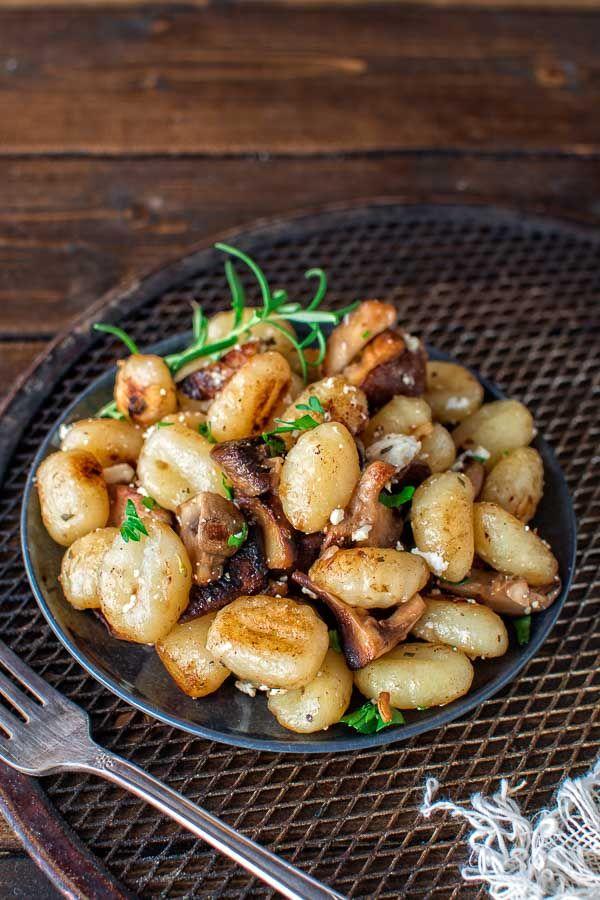 Potato gnocchi combined with fragrant mushrooms and creamy feta cheese. ❤ COOKTORIA.COM