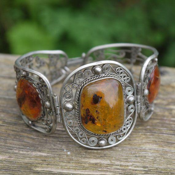Bijoux American Vintage : Vintage s gypsy amber silver bohemian bracelet
