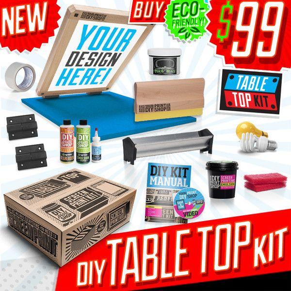 Diy table top screen printing kit diy print shop for Diy t shirt screen printing at home