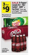 Dr Pepper®, Canada Dry®, 7Up®, Sunkist®, A&W® or Sun Drop® 12 pk. cans or Dr Pepper® 6 pk. Bottles from Dollar General $9.00