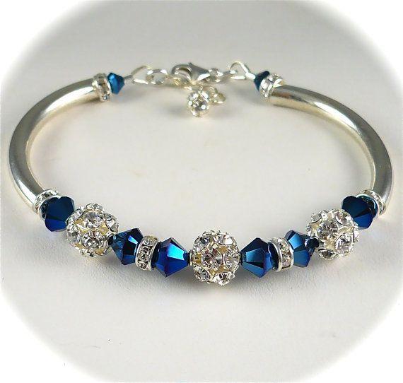 Something Blue Wedding Bracelet Swarovski by AzureTreasures, $48.00