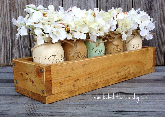 Jardinera rústica caja con Mason pintado de por KatesLittleShop