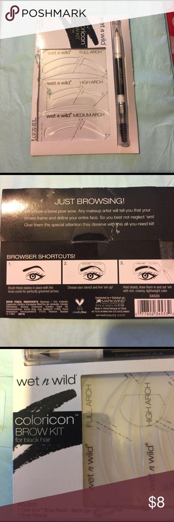 🆕 wet n wild brow stencil kit Brow kit for black hair wet n wild Makeup Eyebrow Filler