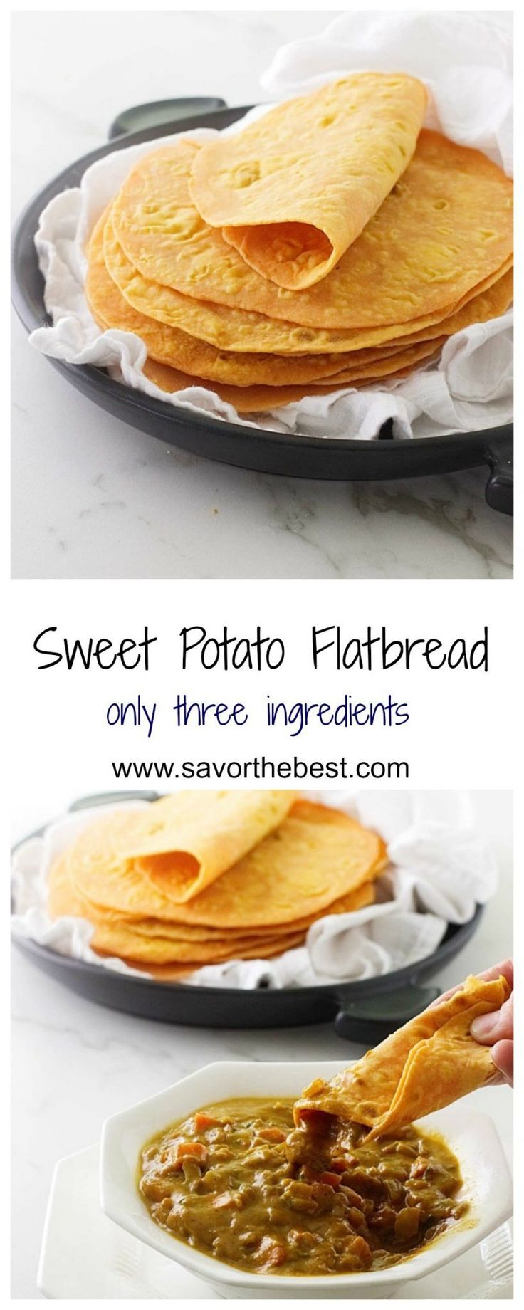 This sweet potato flatbread only takes three ingredients, sweet potatoes, flour and salt. It is soft, flexible and tastes amazing, perfect as a wrap or dip.