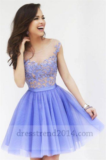 Beaded Periwinkle Floral Homecoming Dresses 2014