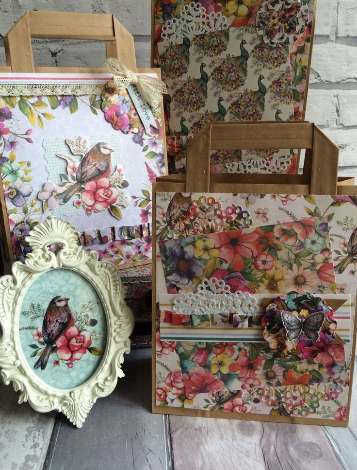 Dovecraft Bohemian floral gift bags by Maxine