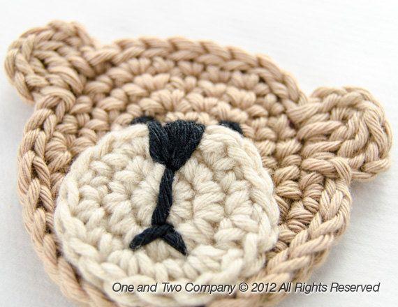Teddy Bear Applique PDF Crochet Pattern by oneandtwocompany