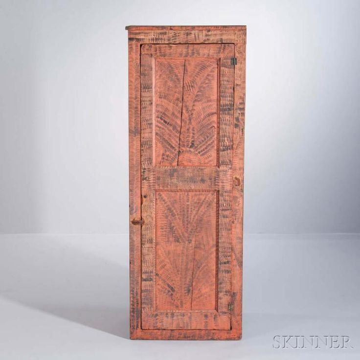 Paint-decorated Cupboard, possibly Pennsylvania, early century, the hinged  door with two molded recessed panels opens to a shelved interior, - 63 Best Chimney Cupboards, My Favorite! Images On Pinterest