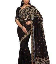 Buy Black Embroidered Bhagalpuri silk Saree With Blouse (1465) bhagalpuri-silk-saree online