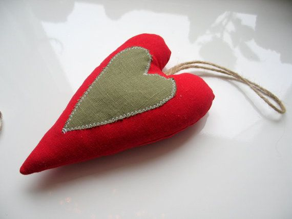 Christmas red heart ornament on a Christmas tree by LolaaCreates, zł19.00