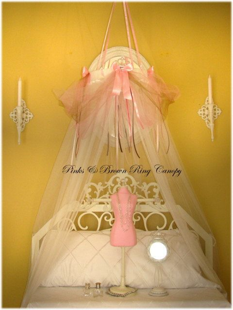 Fairy Princess Bed Canopy Crown Tent Ring SHEERS INCLUDED Dress Up Pink  Brown Playtime Reading Nook