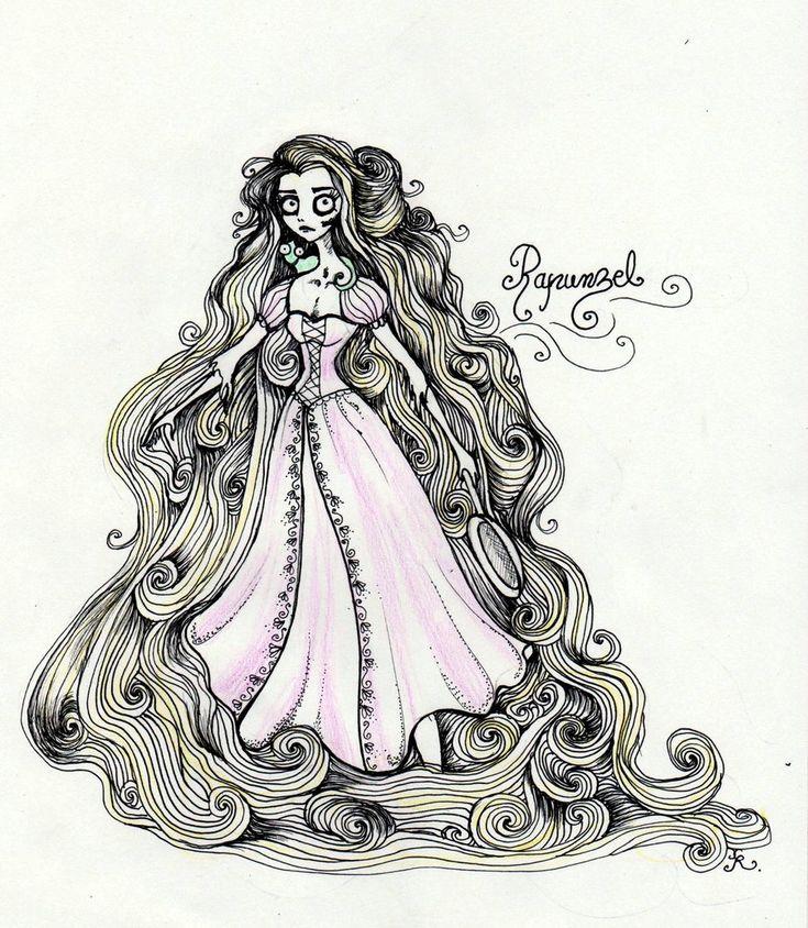 Tim Burtonned Rapunzel by La-Chapeliere-Folle.deviantart.com on @deviantART