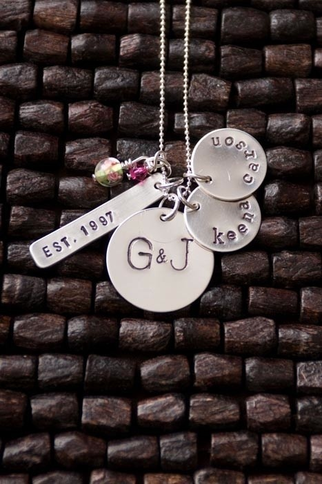 Great Family Necklace! (Year married, husband and wife initials, kids names--more charms can be added.)