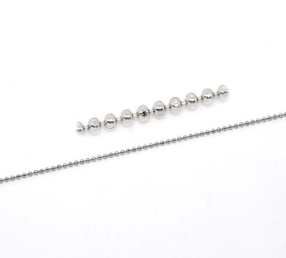 Free Shipping 10M Silver Tone Bead Festival Smooth Ball Chains Findings 1.5mm / Fashion Jewelry Diy  (W02777) #Affiliate