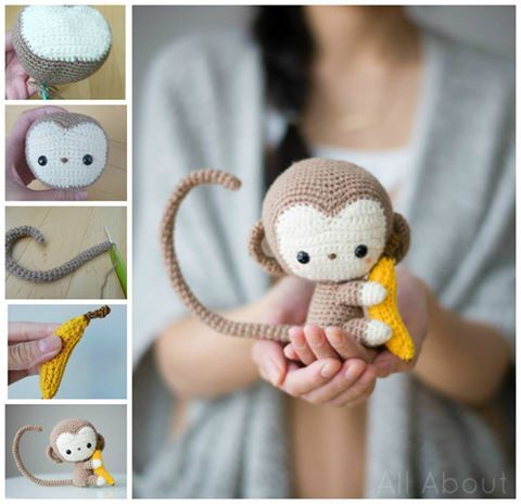 This DIY crochet monkey holding a banana is one of the best handmade gifts you can make