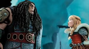 Astrid is a strong female character even though she is not the lead. In the absence of Hiccup, the lead male character, Astrid stands up to Drago Bludvist who is the main antagonist in the story. Drago is bigger in size, and yet Astrid is fearless in this scene, protecting her friends and dragons.
