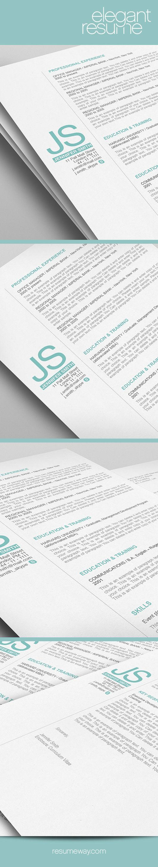 Elegant Resume Template - 110510 - Premium line of Resume & Cover Letter Templates. Easy edit with MS Word, Apple Pages - Resume, Resumes - ResumeWay