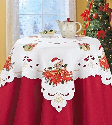 Poinsettias Ribbon Holly Embroidered Red Santa Hat Cat Table topper
