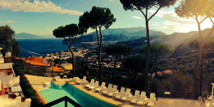 Sorrent, Italy. An amazing panoramic shot of the bay of naples!