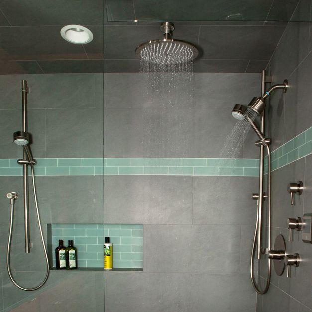 Aquabrass Rainhead, and Shower rail with Volare Straight Handles, featured in MKM Architecture's Portland bathroom - #Aquabrass #Volare #bathroomdesign