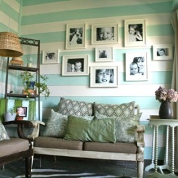 the verandaStripes Wall, Photos Collage, Photos Wall, Families Photos, Photos Display, Sitting Room, Gallery Wall, Pictures Frames, Wall Ideas