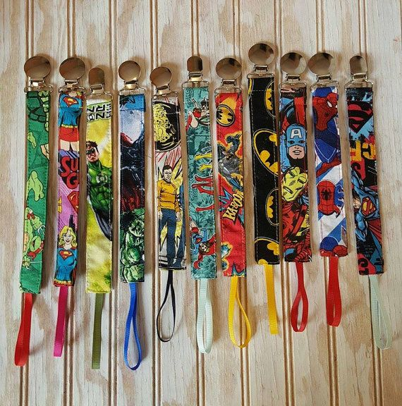 Check out these superhero pacifier clips in my Etsy shop https://www.etsy.com/listing/255605277/pick-3-superhero-pacifier-clips-leash