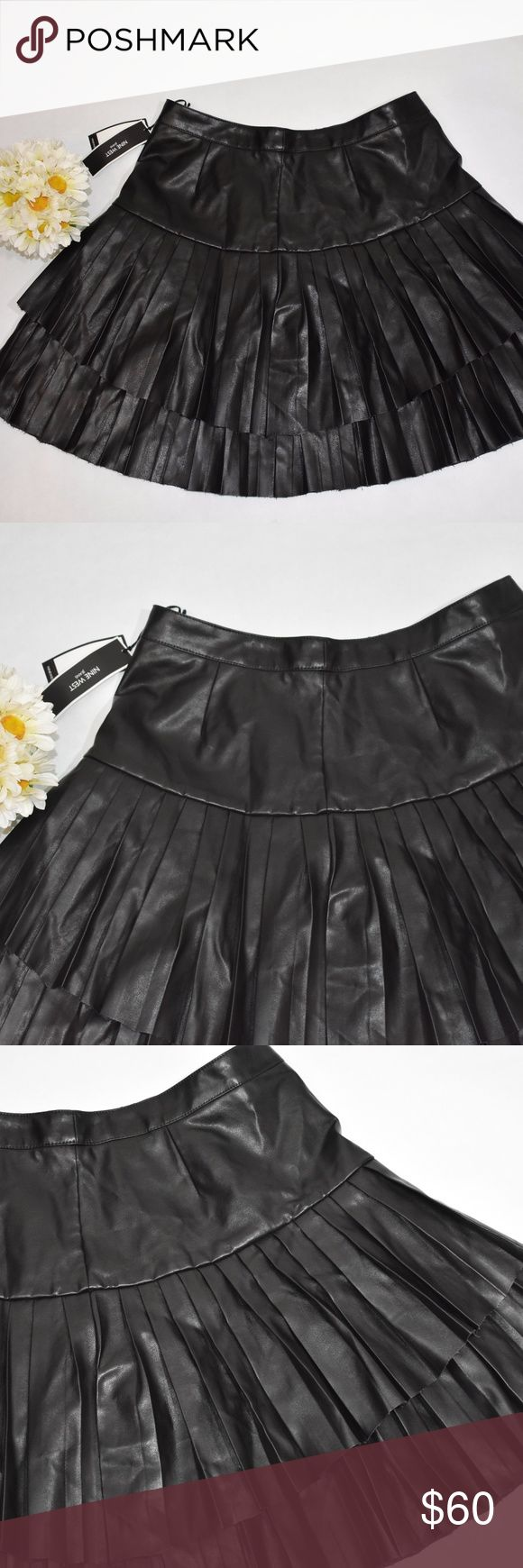 Nine west pleated leather skirt Isabelle size 8 Nine west pleated leather skirt Isabelle size 8 retail $98.50  Measurements were taken with garment laying flat and are approximately:  Measurements: tag size : 8 Waist:15 inches  hip ;21 inches length: 18.5 inches  Please Measure one of your garments that fit you well and compare those measurements with the ones above for a good fit. Nine West Skirts Circle & Skater
