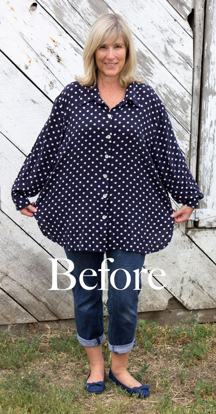 BEFORE !! polka dot shirt redesign tutorial - I love the way she did the sleeves. I want less fitted overall of course, but the details provided in the tutorial are helpful!