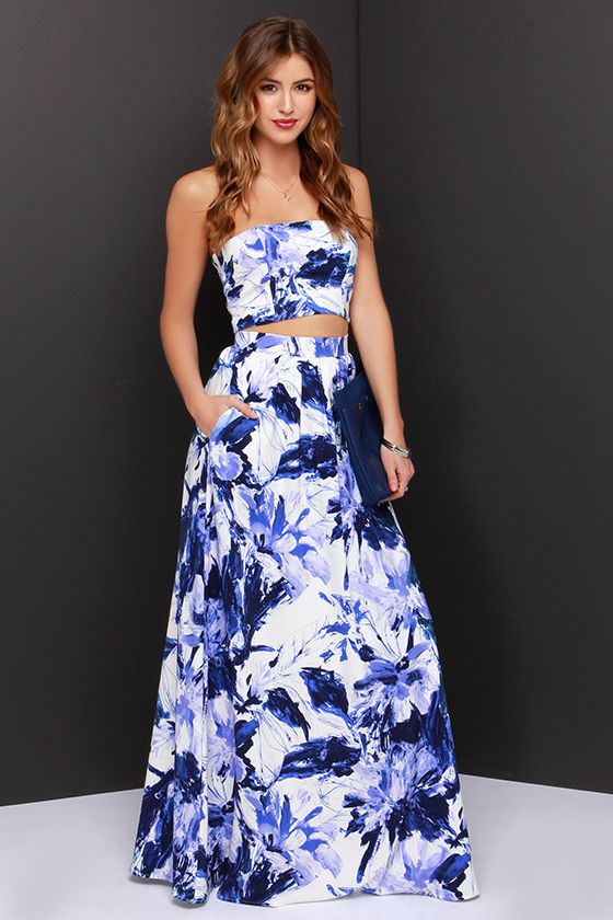 Rubber Ducky Placid Trip Blue and Ivory Print Two-Piece Dress at Lulus.com!