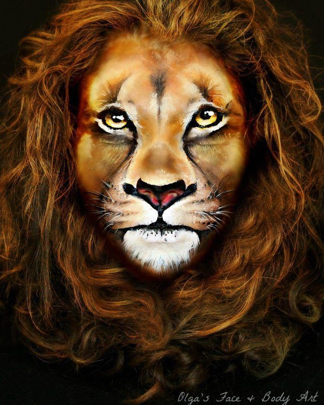 """Learn how to create an Amazing Realistic Lion Makeup look by watching this video tutorial. Inspired by the """"Lion King"""" (Makeup Scar Lion King) movie and wildlife. Great for Lion Halloween Makeup and Face Painting."""