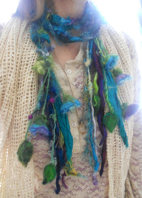 rustic enchanted forest fiber braid lariat scarf by beautifulplace, $39.00