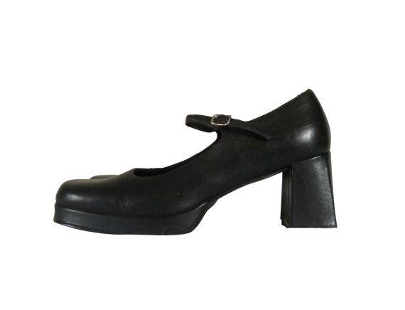 44ac91c4c94 90s Mary Jane Shoe Steve Madden Mary Jane Heel Black Mary Jane Women Shoe  Size 10 Maryjane Shoe 90s Grunge Shoe 90s Chunky Heel Block Heel