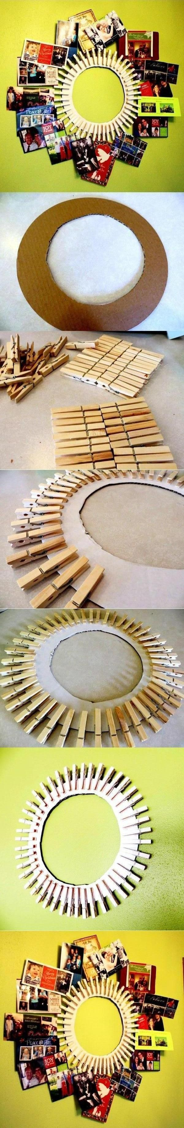 """DIY Clothespin Picture Frame (Advent calendar; important notes/ ticket holder/Calendar; Laundry lost socks) Can dye clothespins, or decoupage them. Cut carboard circle. I would do with a full 11"""" circle. Generously white glue 12"""" scrapbooking paper. Glue clothepins on. In center put calendar, or family photos, scenery, next project etc. For Advent, only 24 clothespins, put treats, etc in small paper/material bags. Bags would be cute made out of scrapbooking odds+ends."""