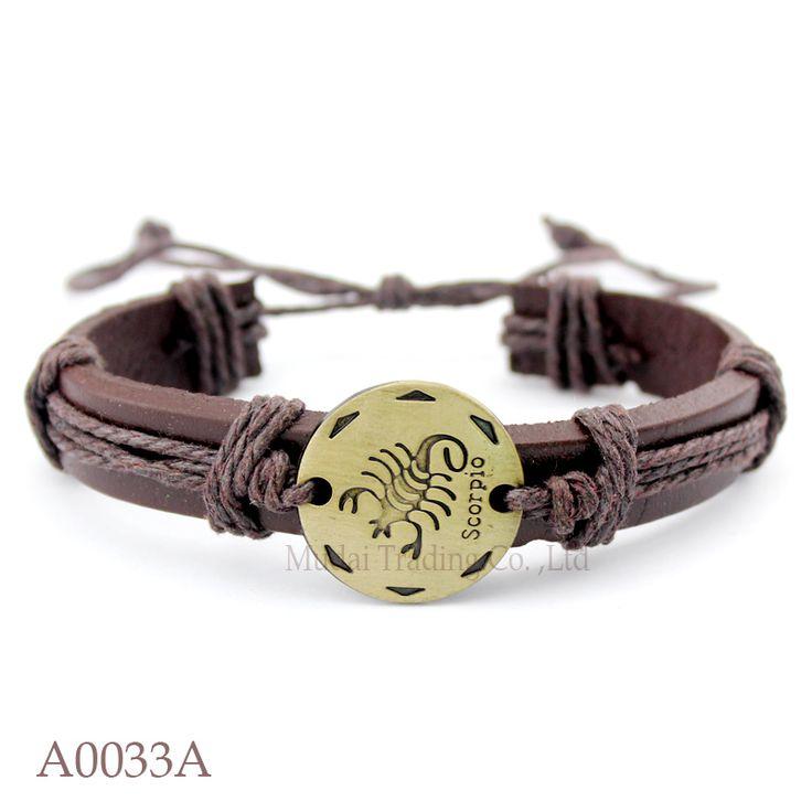 (10PCS/lot) Adjustable Scorpio Leather Cuff Mens Friendship Bracelet Twelve Constellations Zodiac Sign Wristband Jewelry