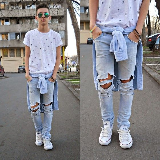 New Yorker Tshirt, Versace Shirt, Zara Jeans, Converse Sneakers
